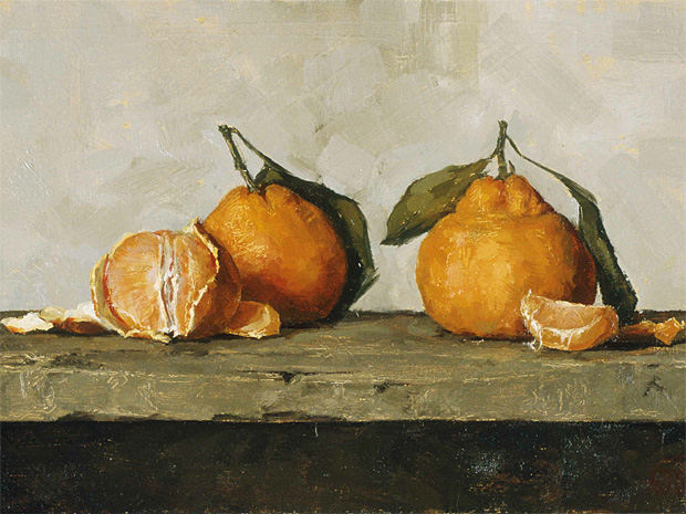 Mandarines, Oil on panel by Andrea J Smith