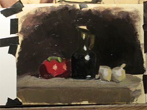 A student's still life work in progress