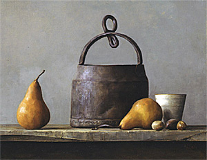 Golden Pears, still life by Andrea J Smith