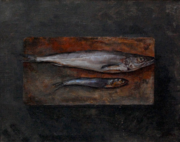 Still life painting of two fish on a board